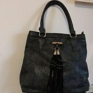 Handbags - Gray & Black Tassel Hobo bag.